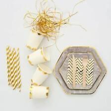 Concrete Party Supplies Bundle - Paper Cups, Plates, Straws,Napkins,Wood Cutlery