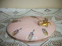 FRENCH VANITY DISH GILT HANDLE PINK ROSES CHIC SHABBY MID CENTURY VINTAGE GLAM