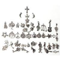 Wholesale 100pcs Bulk Lots Tibetan Silver Mix Charm Pendant Beads Jewelry DIY