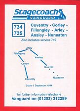 Bus Timetable Leaflet ~ Stagecoach Vanguard - 734/5: Coventry to Nuneaton - 1994