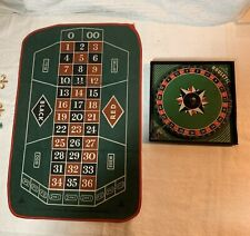 Circa 1930's Gotham Tin Litho Small Roulette Wheel & Fabric Board Toy Game