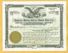 EASTERN MAINE SILVER BLACK FOX CO. 1924 STOCK CERTIFICATE