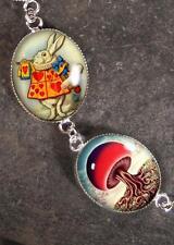 Handmade Silver Alice in Wonderland Dream White Rabbit Fantasy Charm Bracelet