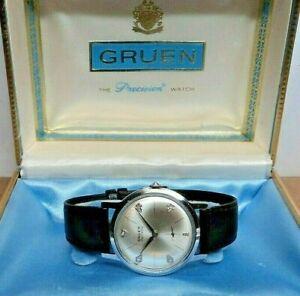 1950s Gruen Precision DIAMOND DIAL Cal.N510 17J. Swiss Stainless Mens Watch