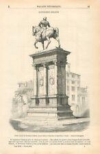 Statue Equestre de Bartolomeo Colleoni Eglise de Saint-Jean Venise GRAVURE 1855