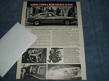 "1969 Mercury Capri Vintage Info Article ""Ford's New Select-A-Car"""