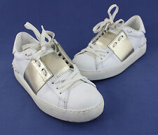 Valentino Garavani White Gold Leather Lace Up Low Top Rock Stud Sneaker Shoe 5