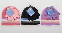 CHILDRENS KIDS GIRLS - WINTER STRIPE HAT & GLOVES  SET - WARM PINK BLACK LILAC