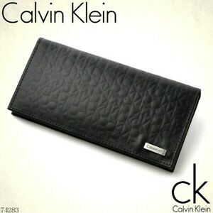 Calvin Klein Men's Embossed Leather Long Folio RFID CK Logo Wallet w/Gift Box