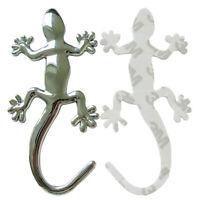 Logo Embleme Gecko Lézard couleur argent - Autocollant en aluminium deco tuning