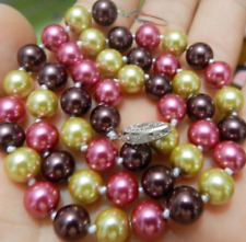 """New Natuarl 8mm south sea Multicolor shell pearl necklace 18"""" AAA+"""