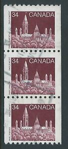 Scott 952vii: 34c Parliament coil strip showing 7mm wide tagging, rare used, VF
