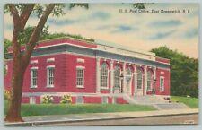 East Greenwich Rhode Island ~U.S. Post Office~1940s Linen Postcard