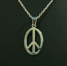 "New Peace Sign Oval Pendant Sterling Silver Charm Necklace 16""- 24"" Fashion Gift"