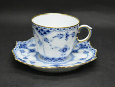 Royal Copenhagen Blue Fluted Full Lace Gold Trim Demi Tea Cup & Saucer 1890s