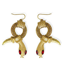 EGYPTIAN SNAKE EARRINGS FOR PIERCED EARS FANCY DRESS ACCESSORIES GOLD METAL