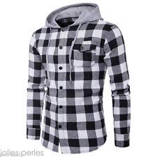 Mens Boys Casual Shirt Long Sleeve Lattice Plaid Denim Hoody Slim Fit  Top Tee