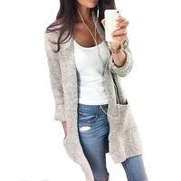 Women Knitted Woolen Long Sleeve Oversized Loose Sweater Jumper Cardigan Outwear