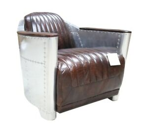 Aviator Spitfire chair in Tobacco Vintage Retro Real Leather Fast Del 7-14 Days