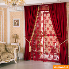 modern festive wedding room solid red velvet thick cloth curtain drapes N925