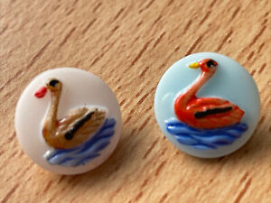 2 Charming  Hand Painted Swan  Vintage Czech Glass Buttons  - 1.1cm