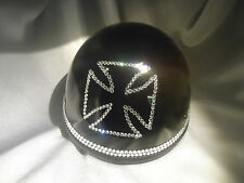 Bling Motorcycle Helmet made with Swarovski® Crystal Design-Black -VH23*