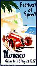 A0  poster SPEED 1937 Vintage Monaco grand prix art canvas