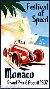 A0 print post vintage  Monaco Grand prix Europe car race art painting
