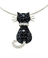 10K White Gold Diamond Cat Pendant .33ct Cluster Black & White Diamond Kitty