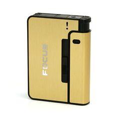 NEW Automatic Cigarette Case Box Lighter Case Holder Holds 8 Cigarettes Gold