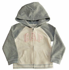 Baby GAP Girls GREY PINK Logo Hoodie Raglan Hooded Fleece Lined  2-5y £19.95