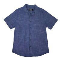 Topman Button Up Shirt Men's Size XL Blue Cotton Short Sleeve Collared Casual