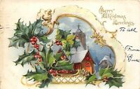 MERRY CHRISTMAS 1906 Embossed Postcard Holly Church by Raphael Tuck