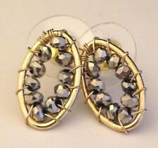 Designer Earrings Gold Tone Hematite Beads Premier Fashion Jewelry Chic 8I