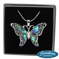 """Butterfly Necklace Abalone Shell Pendant Filigree Silver Fashion Jewellery 18"""""""