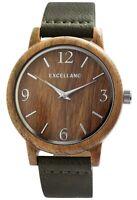 Excellanc Herrenuhr Braun Holz Kunst-Leder Quarz Armbanduhr X2900199002