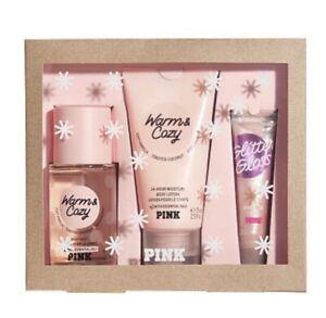 Victoria Secret PINK Warm & Cozy GIFT SET - Lotion Mist Lip Gloss - NEW IN BOX
