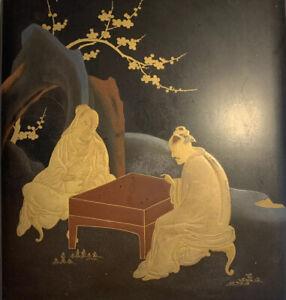 Lacquer Scholars Box Japanese Gilt Hirama-ki-e ink stone brushes Edo-Meji period