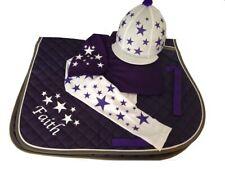 Purple/White  Cross Country Colours Horse Riding Set