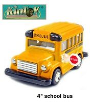 "Brand New 4"" Kintoy School Bus Diecast Model Toy Pull Action Play Fun"