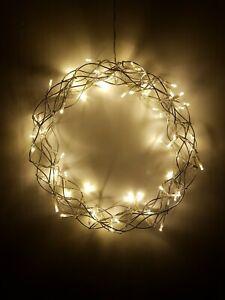 LED-Kranz 60 Lichter 30cm Draht Lichtkranz silber Weihnachtsdeko warmweiß Tür
