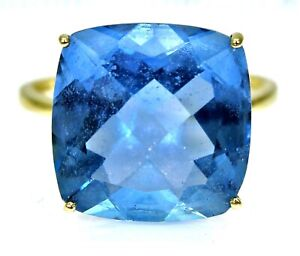 Stunning Azotic Blue Topaz 9ct Yellow Gold Statement ring size P ~ 7 3/4