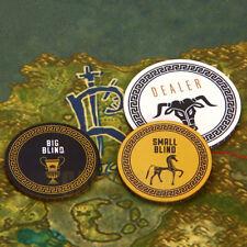 3 pcs New Premium Ceramic Poker Set Small/Big Blind Blinds Dealer Button Chips