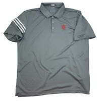 Adidas Clima Cool IU Grey Clima S/S Golf Polo Shirt Indiana Hoosiers Sz XL EUC