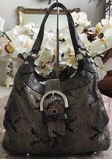 COACH F17419 Soho Grey Black Embossed Exotic Python Snake Hobo EUC! MSRP $398