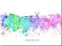 "Amsterdam City Skyline Holland watercolor Abstract Canvas Art Print 32x24"""