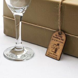 Rustic Wooden Wedding Gift Tags Individually Engraved WithPersonalised Message.