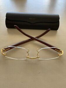 Cartier Decor C Wood Rimless ibiza ct0052o Frame Sunglasses Glasses NEW Coll 21