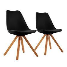 Set 2 Chaises salle à manger salon rétro 4 pied bois plastique dur coussin noir