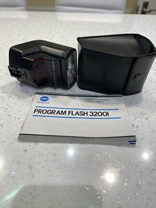 Minolta Program 3200i Flash, Case & Instructions, For Dynax / Maxxum SLR Tested